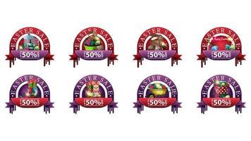 conjunto de banners redondos de descuento con iconos de pascua vector