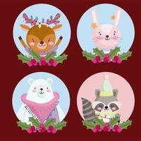 navidad lindo personaje redondo conjunto de iconos