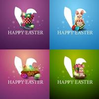 Collection of square colorful postcards with Easter icons. vector