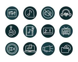 Sound and audio, music and volume icon set
