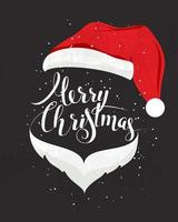 Merry Christmas with Santa Hat vector