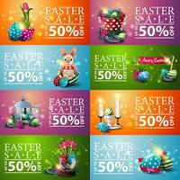 Collection of Easter horizontal discount banners vector