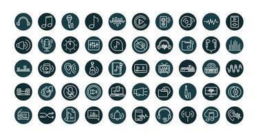 conjunto de iconos de sonido y audio, música y volumen vector