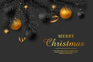 Christmas background with gold ornaments vector