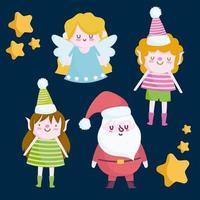 feliz navidad lindo conjunto de caracteres
