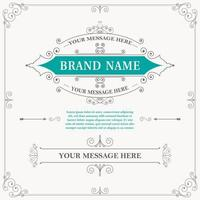 Vintage ornament greeting card calligraphy vector
