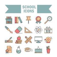 School and education icon set vector