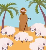 pesebre, pastor, con, ovejas, en, desierto, caricatura vector
