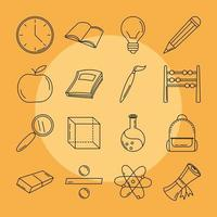 Back to school and education line icon set