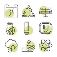 Sustainable, renewable and green eco energy icon set vector