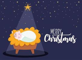 Merry Christmas and nativity banner with baby Jesus