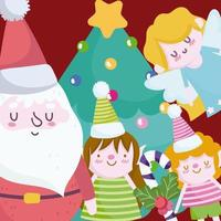 Merry Christmas banner with cute characters