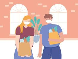 Couple with face masks holding grocery bags vector