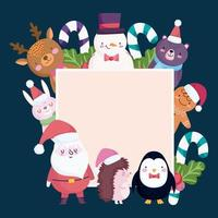 Merry Christmas banner with cute characters vector