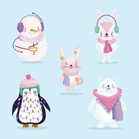 Merry Christmas cute character set vector
