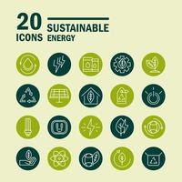 Sustainable, renewable and green eco energy icon set