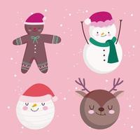 Cute Christmas character set vector