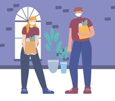 Man and woman with grocery bags and face masks vector