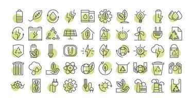 Conjunto de iconos de energía ecológica sostenible, renovable y verde vector