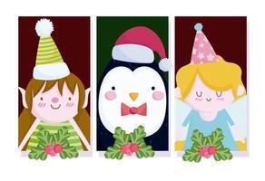 lindo banner navideño con personajes