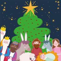 pancarta de feliz navidad con personajes lindos vector