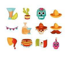 Cinco de Mayo, Mexican decoration icon set vector