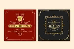 Vintage Merry Christmas greeting card vector