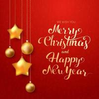 Calligraphic Merry Christmas Lettering Decorated