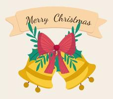 Merry Christmas banner with golden bells and ribbon