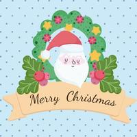 Merry Christmas banner with Santa face and wreath