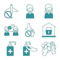 Coronavirus pandemic prevention icon set