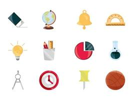 Back to school and education flat icon set