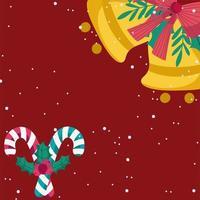 feliz navidad, campanas doradas y bastón de caramelo vector