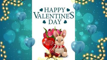 Happy Valentine's day, blue postcard with white stripe