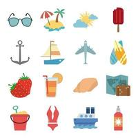 Summer vacation and beach flat icon set