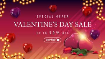 Valentine's day sale, up to 50 off, banner vector