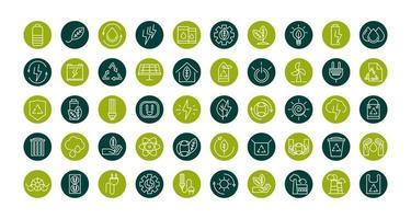 Conjunto de iconos de energía ecológica sostenible, renovable y verde