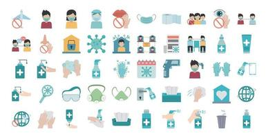 Coronavirus pandemic prevention flat icon set