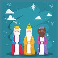 pancarta de feliz navidad y natividad con magos bíblicos vector