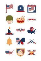 Memorial Day, American national celebration icon set