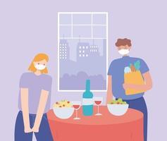 restaurante sobre prevención del coronavirus con cena de distanciamiento social vector