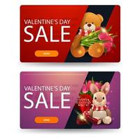 Valentine's day sale, two discount banners with toys vector