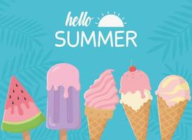 Hello summer banner with ice cream composition vector