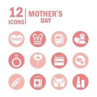 conjunto de iconos de celebración del día de la madre