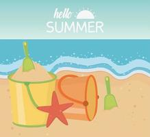 Hello summer vacation and beach composition