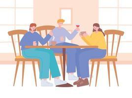Restaurant on coronavirus prevention with social distancing dinner