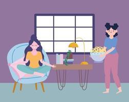 Women doing quarantine activities indoors