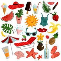 Cute summer icon set vector