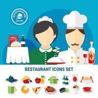 conjunto de iconos de restaurante vector