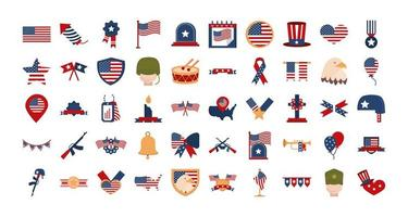 Memorial Day, American national celebration icon set